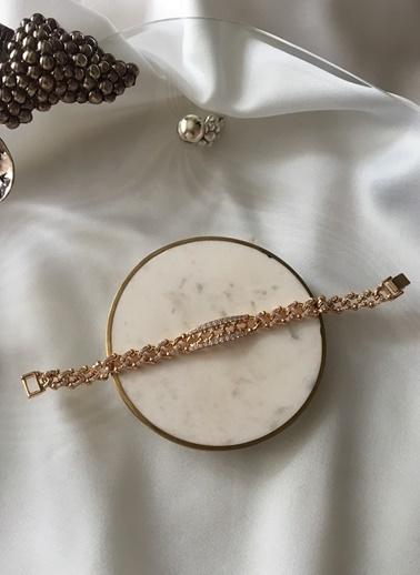 My Joyas Design Özel Seri Örme Zirkon Taşlı Bileklik Altın